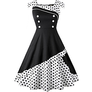 cheap Historical & Vintage Costumes-Audrey Hepburn Polka Dots Retro Vintage 1950s Summer Dress Women's Spandex Costume Black / White / Ink Blue Vintage Cosplay Sleeveless Knee Length