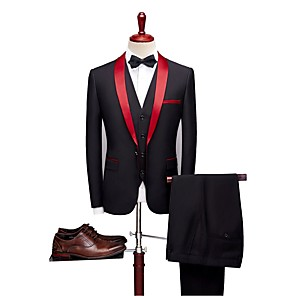 cheap Custom Tuxedo-Black Solid Colored Tailored Fit Wool Blends / Polyster Suit - Shawl Collar Single Breasted One-button / Suits