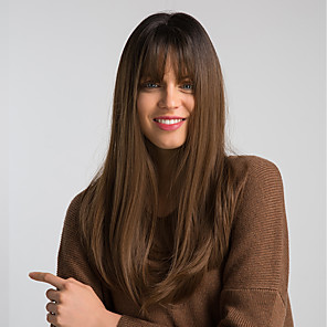 cheap Human Hair Capless Wigs-Synthetic Wig Natural Straight Side Part Wig Long Light golden Light Brown Black / Brown Grey Synthetic Hair 22 inch Women's Fashionable Design Synthetic New Arrival Brown MAYSU / Natural Hairline
