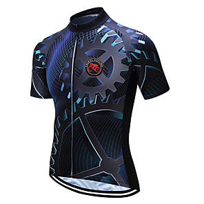 cheap Cycling Jerseys-Men's Short Sleeve Cycling Jersey Coolmax® Blue / Black Bike Jersey Top Mountain Bike MTB Road Bike Cycling Moisture Wicking Limits Bacteria Sports Clothing Apparel / Stretchy / SBS Zipper