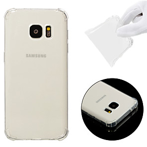 cheap Samsung Case-Case For Samsung Galaxy S7 Shockproof / Transparent Back Cover Solid Colored Soft TPU