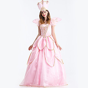 cheap Movie & TV Theme Costumes-Princess Cosplay Costume Adults' Women's Dresses Christmas Halloween Carnival Festival / Holiday Tulle Cotton Pink Carnival Costumes Princess