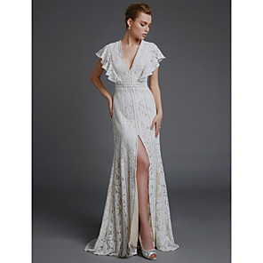 cheap Wedding Dresses-A-Line Wedding Dresses V Neck Sweep / Brush Train Lace Sleeveless Boho with Split Front 2020