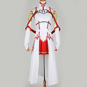 cheap Anime Costumes-Inspired by SAO Swords Art Online Asuna Yuuki Anime Cosplay Costumes Japanese Cosplay Suits Special Design Top Skirt More Accessories For Men's Women's