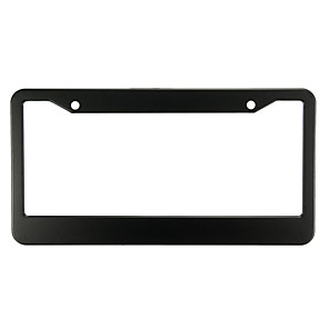 cheap Car Body Decoration & Protection-2 Pcs Black Metal Stainless Steel License Plate Frames With Screw Caps Tag Cover