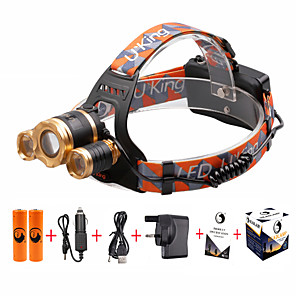 cheap Bike Lights & Reflectors-U'King Headlamps Headlight LED Cree® XM-L T6 3 Emitters 4800 lm 4 Mode with Batteries and Charger UK Plug Zoomable, Adjustable Focus, Compact Size Camping / Hiking / Caving, Cycling / Bike