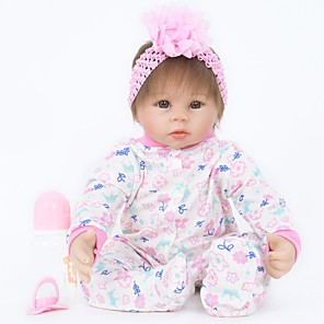 cheap Reborn Doll-FeelWind 22 inch Reborn Doll Girl Doll Baby Girl Reborn Baby Doll lifelike Handmade Cute Child Safe Kids / Teen Cloth 3/4 Silicone Limbs and Cotton Filled Body with Clothes and Accessories for Girls