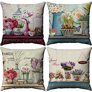 cheap Throw Pillow Covers-Set of 4 Cotton / Linen Pillow Cover, Floral Pattern Floral Print Flower Patterned Throw Pillow
