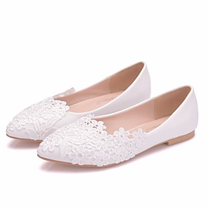 cheap Wedding Shoes-Women's Flats Flat Heel Pointed Toe Satin Flower Lace / PU Sweet / Minimalism Spring & Summer / Fall & Winter White / Wedding / Party & Evening