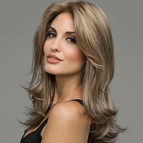 cheap Synthetic Trendy Wigs-Costume Accessories Curly Middle Part Wig Medium Length Light Brown Synthetic Hair 56 inch Women's Women Light Brown