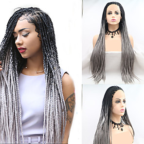 cheap Synthetic Lace Wigs-Synthetic Lace Front Wig Dreadlocks / Faux Locs Plaited Layered Haircut Braid Lace Front Wig Long Grey Synthetic Hair 24 inch Women's Women Plait Hair Black Gray Sylvia