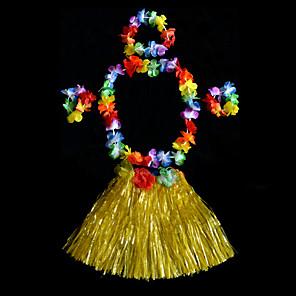 cheap Ethnic & Cultural Costumes-Hawaiian Hula Dancer Kid's Boys' Girls' Active Hawaiian Costumes For PVC(PolyVinyl Chloride) Floral Christmas Halloween Carnival Skirts Headwear Neckwear