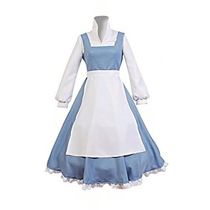 cheap Movie & TV Theme Costumes-Maid Costume Belle Cosplay Costume Adults' Women's Dresses Christmas Halloween Carnival Festival / Holiday Polyster Blue Women's Carnival Costumes Princess