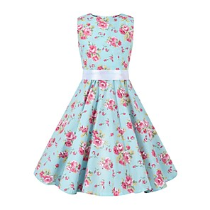 cheap Historical & Vintage Costumes-Audrey Hepburn Floral Style Vintage Vintage Inspired Hepburn Dress JSK / Jumper Skirt Girls' Kid's Costume Blue Vintage Cosplay Party / Evening Family Gathering Festival Sleeveless Above Knee Knee