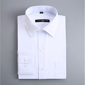 cheap Custom Shirts-Men's Shirt Solid Colored Slim Tops Business Basic Spread Collar White / Spring / Fall / Long Sleeve / Work