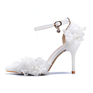 cheap Wedding Shoes-Women's Wedding Shoes Stiletto Heel Pointed Toe Buckle PU Fall & Winter White / Party & Evening