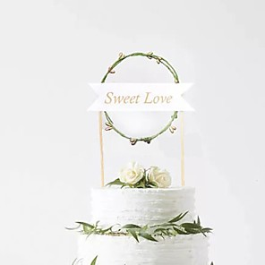cheap Wedding Decorations-Cake Topper Classic Theme / Holiday / Birthday Artistic / Retro / Unique Design Pure Paper Birthday with Splicing 1 pcs OPP