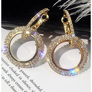 cheap Earrings-Women's Drop Earrings Hollow Out Pave Simple Korean Elegant Bling Bling everyday Imitation Diamond Earrings Jewelry Gold / Silver For Birthday Daily 1 Pair