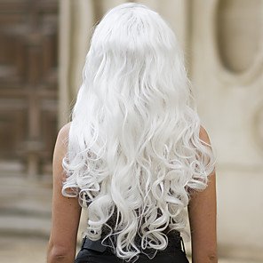cheap Synthetic Lace Wigs-Synthetic Lace Front Wig Body Wave Middle Part Lace Front Wig Long White Synthetic Hair 22-26 inch Women's Soft Heat Resistant Women White / Glueless