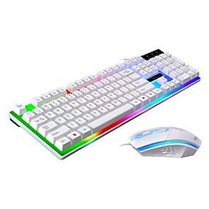 abordables Teclados-LITBest G21 USB con cable Combo teclado del ratón Gradiente de Color teclado mecánico / teclado para juegos Luminoso ratón para juegos 1600 dpi