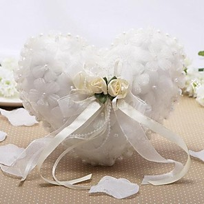 cheap Wedding Flowers-Satin / Tulle Imitation Pearl / Floral Silk Ring Pillow Wedding All Seasons