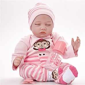 cheap Reborn Doll-FeelWind 22 inch Reborn Doll Girl Doll Baby Girl Reborn Baby Doll lifelike Handmade Cute Kids / Teen Non-toxic Cloth 3/4 Silicone Limbs and Cotton Filled Body with Clothes and Accessories for Girls