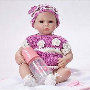 cheap Reborn Doll-FeelWind 18 inch Reborn Doll Girl Doll Baby Girl lifelike Handmade Cute Child Safe Kids / Teen Cloth 3/4 Silicone Limbs and Cotton Filled Body with Clothes and Accessories for Girls' Birthday and