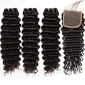 cheap Synthetic Trendy Wigs-3 Bundles with Closure Brazilian Hair Deep Wave Remy Human Hair 345 g Natural Color Hair Weaves / Hair Bulk Extension Bundle Hair 8-20 inch Natural Color Human Hair Weaves Sexy Lady Hot Sale 100