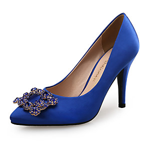 cheap Wedding Shoes-Women's Satin Spring &  Fall Sweet / Minimalism Heels Stiletto Heel Pointed Toe Rhinestone Gray / Royal Blue / Wedding / Party & Evening