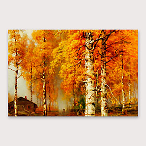 cheap Landscape Paintings-Oil Painting Hand Painted - Abstract Modern Stretched Canvas