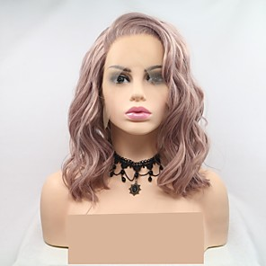 cheap Synthetic Lace Wigs-Synthetic Lace Front Wig Wavy Layered Haircut Lace Front Wig Pink Short Pink Synthetic Hair 12 inch Women's Women Pink Sylvia