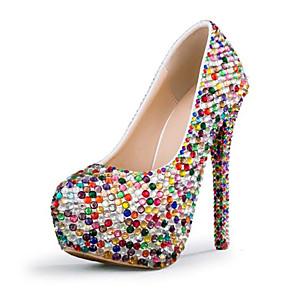 cheap Women's Heels-Women's Wedding Shoes Stiletto Heel Round Toe Rhinestone PU Fall & Winter Rainbow / Party & Evening