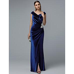 cheap Wedding Wraps-Sheath / Column Elegant Prom Dress V Neck Short Sleeve Floor Length Velvet with Appliques Split Front 2020