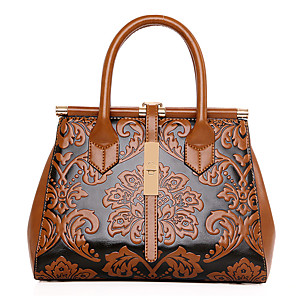 cheap Wedding Shoes-Women's PU Tote Floral Print Brown / Wine / Blue