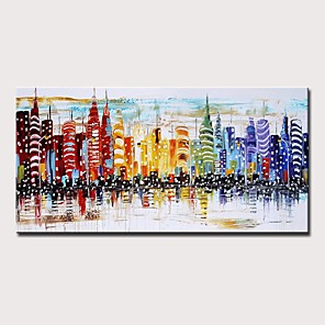 cheap Abstract Paintings-Oil Painting Hand Painted - Abstract Landscape Modern Rolled Canvas