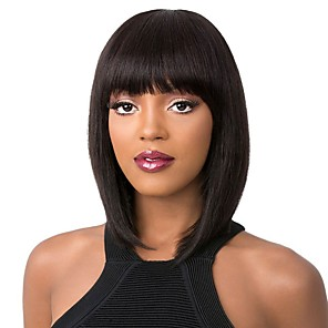 cheap Human Hair Wigs-Remy Human Hair Lace Front Wig Bob style Brazilian Hair Yaki Straight Natural Wig 130% 150% 180% Density Natural Best Quality Hot Sale Thick with Clip Women's Medium Length Human Hair Lace Wig