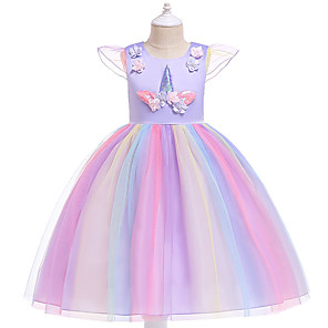 cheap Movie & TV Theme Costumes-Kids Girls' Active Sweet Party Holiday Unicorn Patchwork Short Sleeve Knee-length Dress Purple