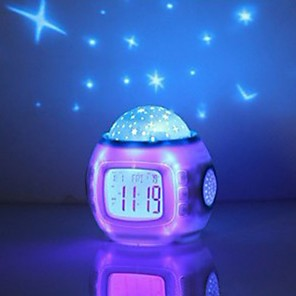 cheap Alarm Clocks-Music Starry Sky Projection Alarm Clock Snooze Digital LED Alarm Clock Calendar Thermometer Projection Light