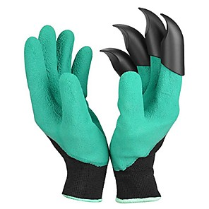 cheap Other Hand Tools-1Pair Garden Gloves 4 ABS Plastic Garden Genie Rubber Gloves With Claws Quick Easy to Dig and Plant gant de jardin