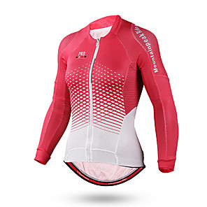 cheap Cycling Jerseys-Mountainpeak Women's Long Sleeve Cycling Jersey Winter Polyester Coolmax® Pink Gradient Bike Jersey Top Mountain Bike MTB Road Bike Cycling Breathable Quick Dry Moisture Wicking Sports Clothing