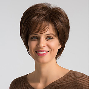 cheap Synthetic Trendy Wigs-Human Hair Blend Wig Short Natural Straight Bob Brown Fashionable Design Easy dressing Comfortable Capless Women's Brown Medium Auburn#30 Jet Black #1 8 inch / Natural Hairline / Natural Hairline