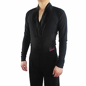 cheap Latin Dancewear-Latin Dance Top Ruching Split Joint Men's Performance Long Sleeve Crystal Cotton Tulle
