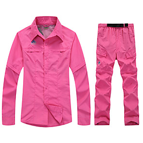 cheap Softshell, Fleece & Hiking Jackets-SPAKCT Women's Hiking Shirt with Pants Convertible Pants / Zip Off Pants Long Sleeve Outdoor Breathable Quick Dry Moisture Permeability Convert to Short Sleeves Pants / Trousers Bottoms Spring Summer