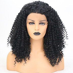 cheap Synthetic Trendy Wigs-Synthetic Lace Front Wig Deep Curly Free Part Lace Front Wig Medium Length Black#1B Synthetic Hair 18 inch Women's Classic Women Synthetic Black
