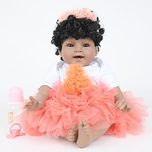 cheap Building Blocks-FeelWind 22 inch Reborn Doll Girl Doll Baby Girl Reborn Baby Doll lifelike Handmade Cute Kids / Teen Non-toxic Cloth 3/4 Silicone Limbs and Cotton Filled Body with Clothes and Accessories for Girls