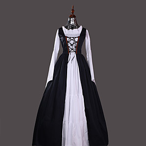 cheap Historical & Vintage Costumes-Princess Retro Vintage Medieval Renaissance Dress Party Costume Costume Women's Cotton Costume Ink Blue / Red Vintage Cosplay Party & Evening Long Sleeve Floor Length Long Length Plus Size