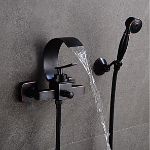 cheap Bathtub Faucets-Bathroom Sink Faucet - Waterfall Black Centerset Single Handle Two HolesBath Taps