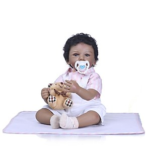 cheap Reborn Doll-NPKCOLLECTION 24 inch NPK DOLL Reborn Doll Girl Doll Baby Girl Reborn Toddler Doll Newborn Gift Artificial Implantation Brown Eyes Cloth 3/4 Silicone Limbs and Cotton Filled Body with Clothes and