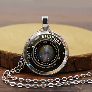 cheap Pendant Necklaces-Men's Pendant Necklace Classic Letter Classic Steampunk Glass Chrome Black Gold Silver 45+5 cm Necklace Jewelry 1pc For Street Bar