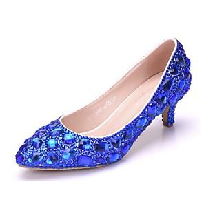 cheap Wedding Shoes-Women's PU(Polyurethane) Spring &  Fall Sweet Wedding Shoes Kitten Heel Pointed Toe Rhinestone / Sparkling Glitter Gold / Purple / Royal Blue / Camouflage
